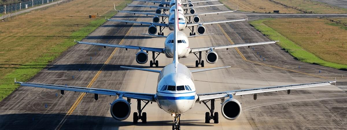Fleat of lined up aeroplanes for carousel four